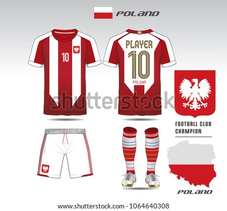 02d7902e0 Poland soccer jersey or team apparel template. Mock up Football uniform for  football club.