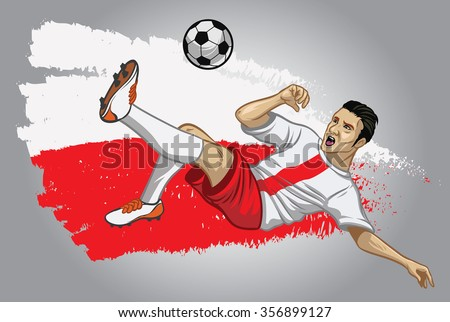 poland soccer player with flag