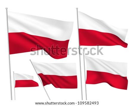 poland vector flags set 5 wavy