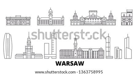 Poland, Warsaw line travel skyline set. Poland, Warsaw outline city vector illustration, symbol, travel sights, landmarks.