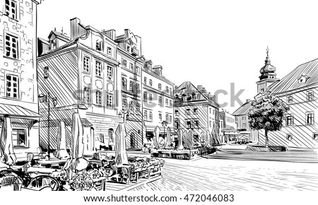 stock vector poland warsaw palace square hand drawn sketch unusual perspective city vector illustration 472046083 - Каталог - 3d фотообои