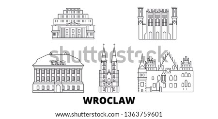 Poland, Wroclaw line travel skyline set. Poland, Wroclaw outline city vector illustration, symbol, travel sights, landmarks.