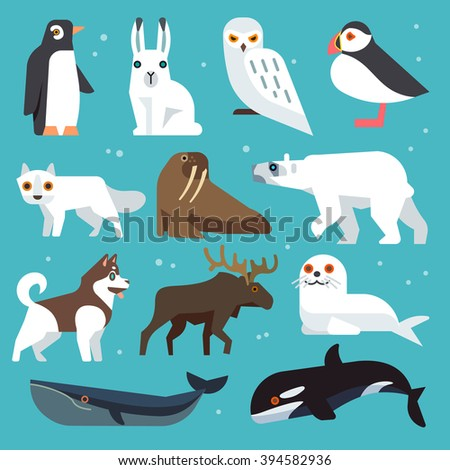 polar animals icons polar