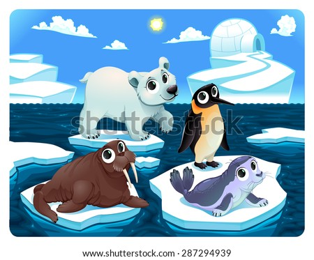 polar animals on the ice