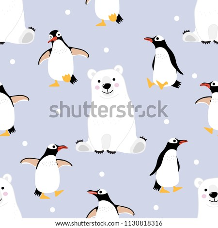 Polar bear and penguin seamless pattern and background. Wildlife animal cartoon character vector.