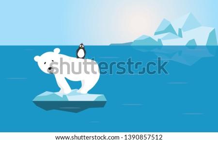 polar bear and penguin with
