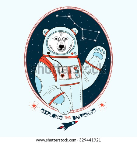 polar bear astronaut in outer