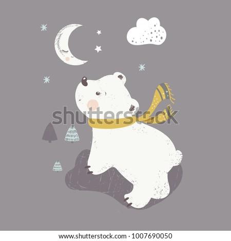 polar bearcartoon hand drawn