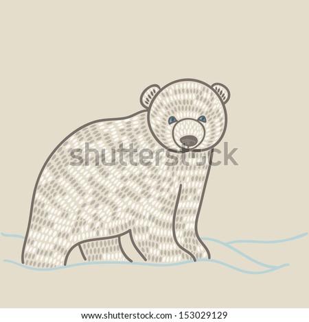 polar bear cub in snow