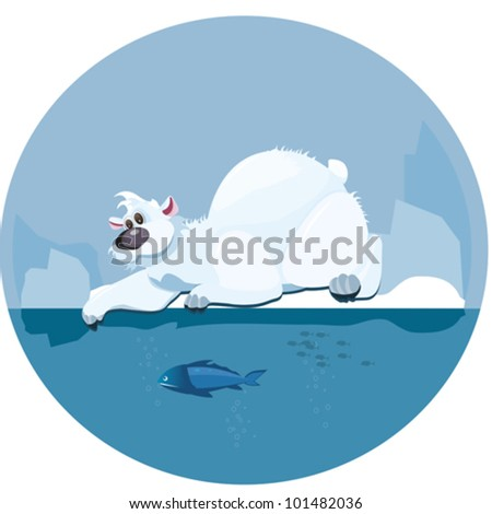 Polar Bear. Cute polar bear lying next to an ice-hole and catching fish with his paw
