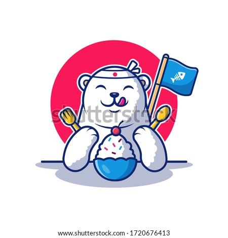 polar bear eat ice cream vector