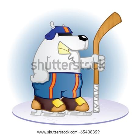 Polar Bear Hockey Player Cartoon Character