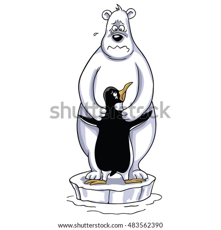 polar bear hugging penguin  sad