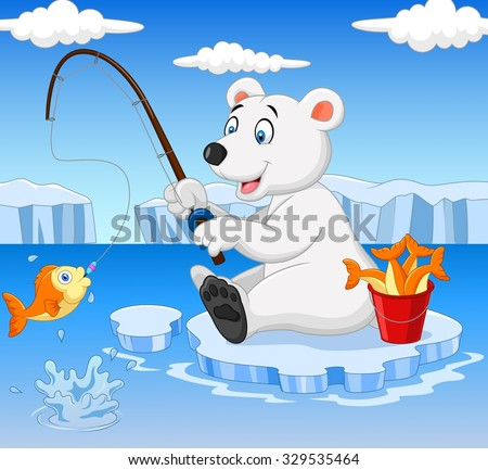 Polar Bear Is Fishing On The Arctic Ice Stock Vector ...