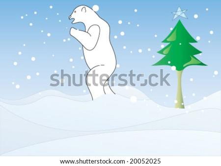 polar bear is walking on the