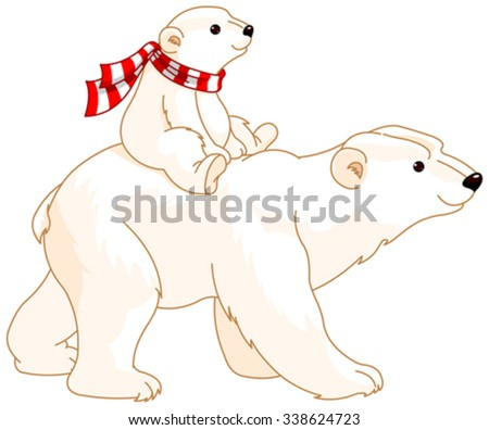polar bear mom and baby riding