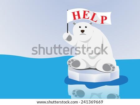 polar bear on floe in ocean