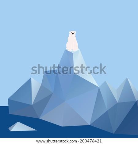 Polar bear on ice mountain - Vector