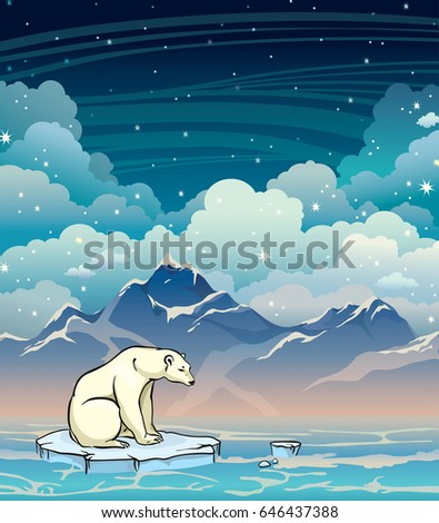 Polar bear sitting on the ice floe in a sea on a starry sky background. Night vector illustration.