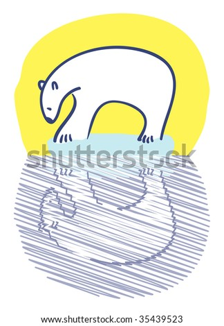 Polar bear standing on small iceberg staring at reflection - stock vector