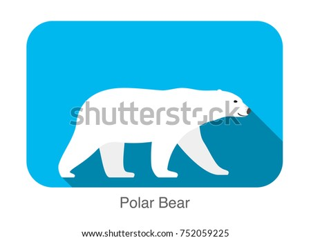 polar bear walking side flat 3d