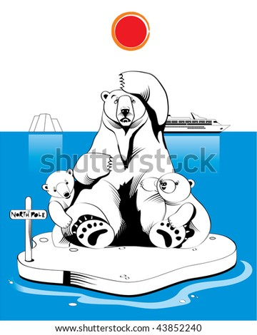 Polar bears in north pole