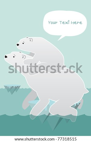 Polar bears on an ice.Global warming.