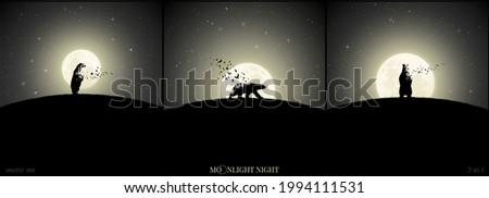 polar bears on moonlight night