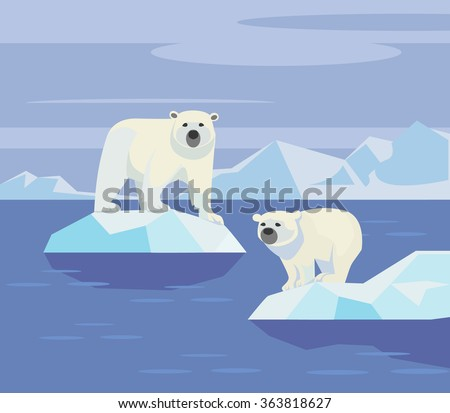 polar bears vector flat