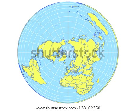 Polar Centered Vector World Map In Albers Equal Area Projection