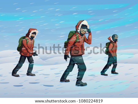 polar explorers in red jackets