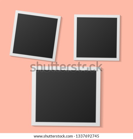 Polaroid .Black and white photo frames isolated on living coral. Vintage style. Vector illustration