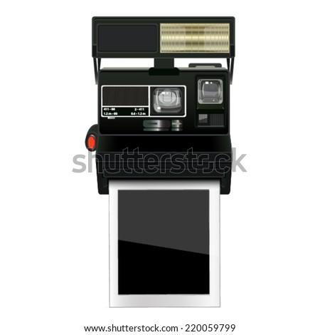 polaroid camera with image on white background
