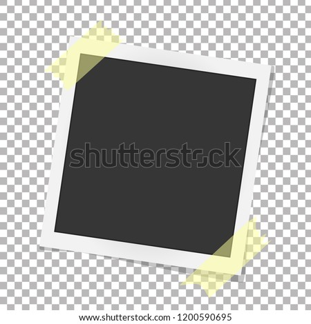 Polaroid photo frame. Realistic vector photo frame on sticky tape. Template polaroid photo design. Vector illustration