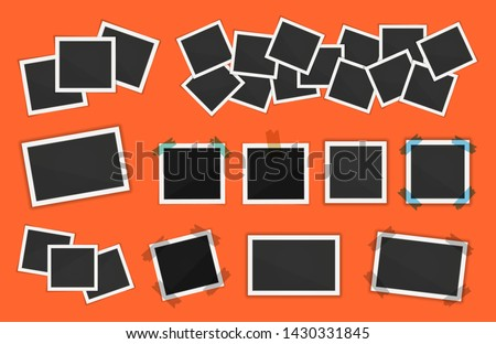 Polaroid photo frames pack. Square frame template with shadows isolated on orange background. Vector illustration