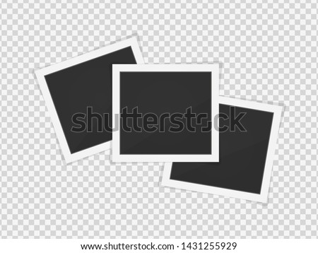 Polaroid photo frames. Square frame template with shadows isolated on transparent background. Vector illustration