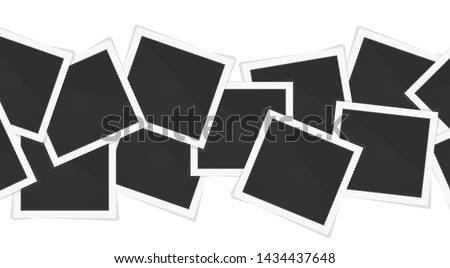 Polaroid photo frames. Square frame template with shadows isolated on white background. Vector illustration