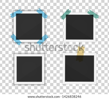 Polaroid photo frames. Square polaroid frame template with shadows isolated on transparent background. Vector illustration