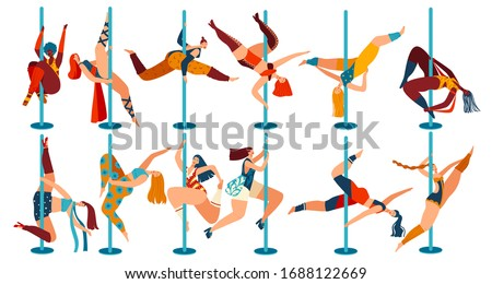 Pole dance people, body positive women cartoon characters isolated on white, vector illustration. Cheerful girls in different poses dancing on pole. Female dancers, flexibility exercise gymnastics set Сток-фото ©