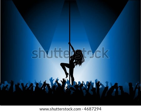 Pole dancer performing in front of crowd - vector