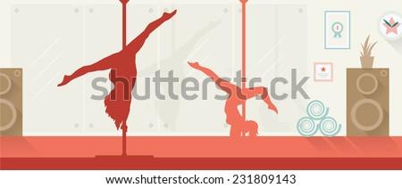 Pole dancers in pole dance studio flat style.