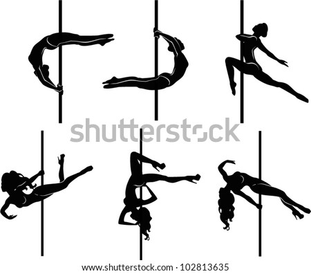 Pole dancers silhouettes. The vector illustration of a set of pole dancers silhouettes.