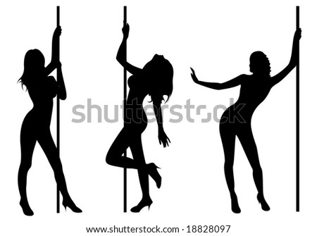 Pole dancers. The three sexy pole dancers