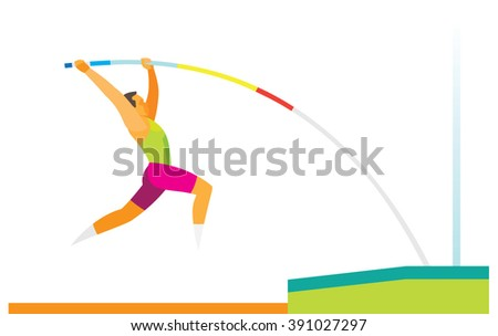 pole vaulter performs a jump