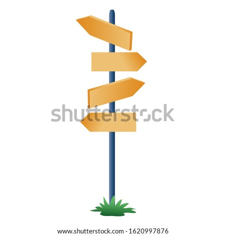 pole with pointers on the road indicate the direction in different directions, isolated object on a white background,