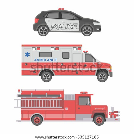 police  ambulance car and fire
