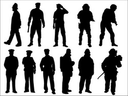 police and fireman silhouette collection vector