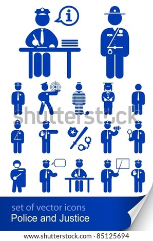 police and justice set of vector icons illustration isolated on white background