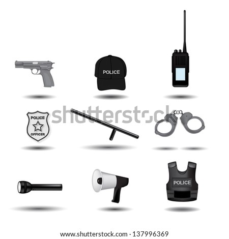 Police and law enforcement vector icons