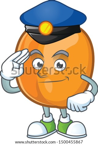 Police apricot cartoon character for nutritious maskot